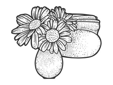 Table decoration, vase of flowers and napkin holder. Sketch scratch board imitation.