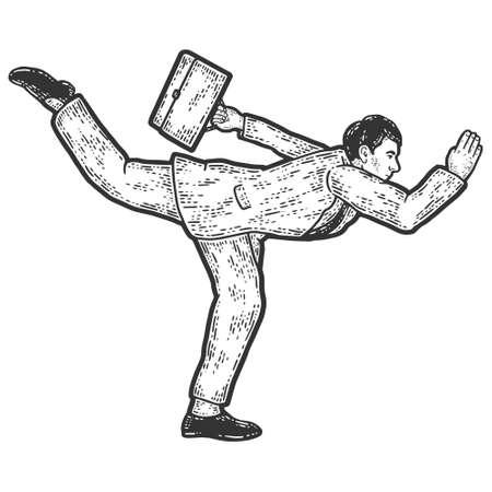 Businessman in a funny pose. Acceleration running. Sketch scratch board imitation. 矢量图像