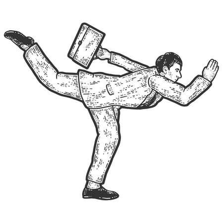 Businessman in a funny pose. Acceleration running. Sketch scratch board imitation. 免版税图像