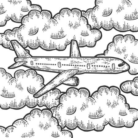 Plane is flying in thick clouds. Sketch scratch board imitation.