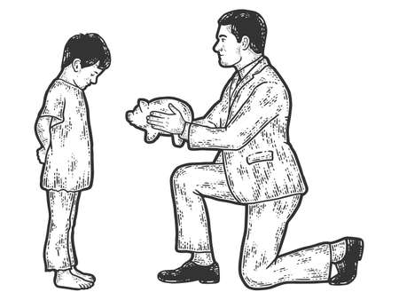 Charity. Businessman gives a piggy bank, finances to a poor child.