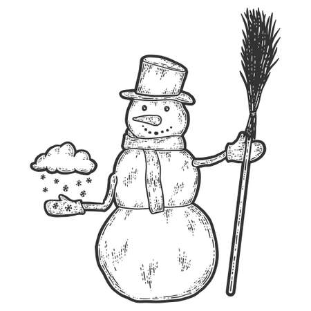 Snowman holds broom and cloud of snow in his hand. Sketch scratch board imitation.