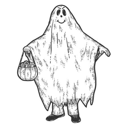 Halloween, ghost costume. Sketch scratch board imitation.