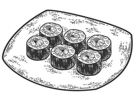 Sushi plate set. Japanese food. Sketch scratch board imitation.