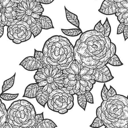 Seamless pattern, isolated flower composition. Sketch scratch board imitation. Ilustração