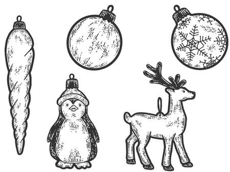 Christmas toys on the tree. Sketch scratch board imitation. Ilustração