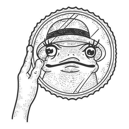 Beautiful toad in a hat looks in the mirror. Sketch scratch board imitation.