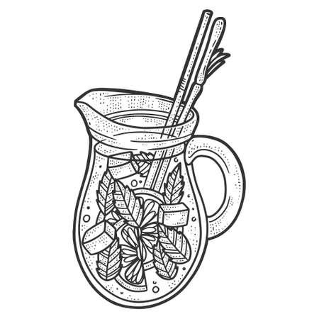 Lemonade in a jug. Sketch scratch board imitation. Black and white.