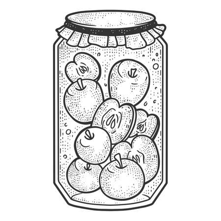 Apple compote. Preservation for the winter. Sketch scratch board imitation.