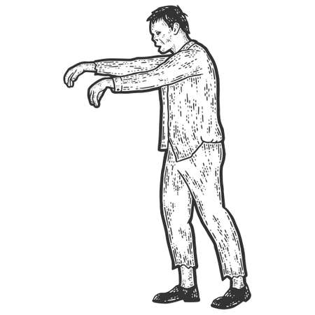Zombie with raised arms, full length. Sketch scratch board imitation. Ilustração