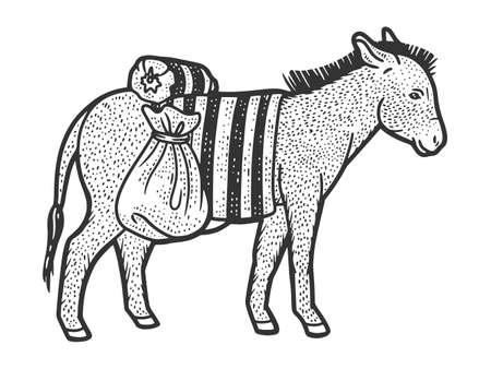 Donkey carrying heavy loads. Sketch scratch board imitation. Ilustração