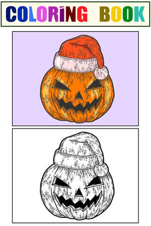 Halloween, pumpkin face in santa claus hat. Sketch set of coloring book and color for example. Illustration