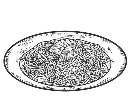 Plate with spaghetti. Sketch scratch board imitation. Black and white.