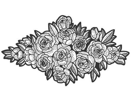 Floral design, wreath. Sketch scratch board imitation. Black and white.