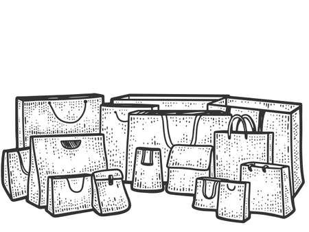 Set of paper bag with handles, gift bags. Sketch scratch board imitation. Illustration
