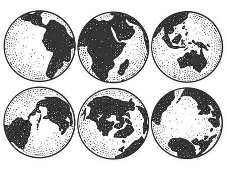 Planet Earth from different angles. Globe sketch scratch board imitation.