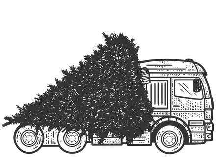 A truck carries a tree for the New Year. Sketch scratch board imitation.