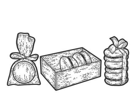 Set, macaron dessert in the package. Sketch scratch board imitation.