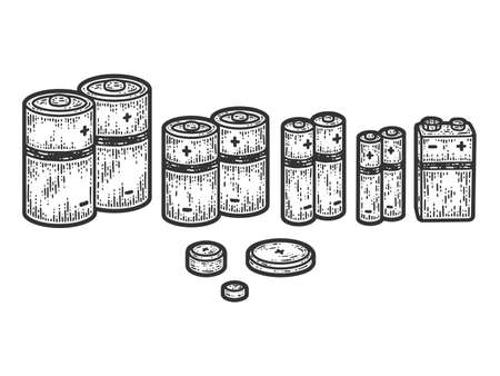 A set of different batteries. Sketch scratch board imitation.