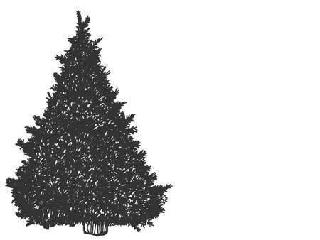 Christmas tree. Sketch scratch board imitation. Black and white. Illustration