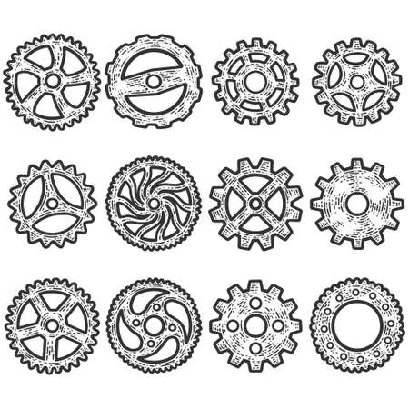 Set of gears, mechanism. Sketch scratch board imitation. Black and white