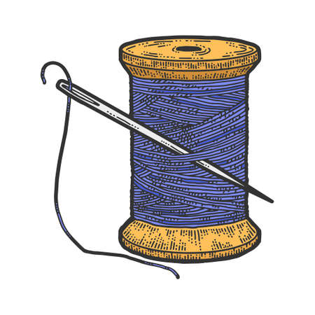 Spool of blue thread with a needle. Scratch board imitation. Color hand drawn image. Illustration
