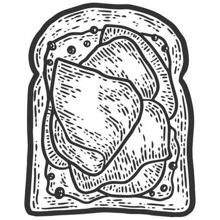Ham sandwich. Sketch scratch board imitation. Black and white.