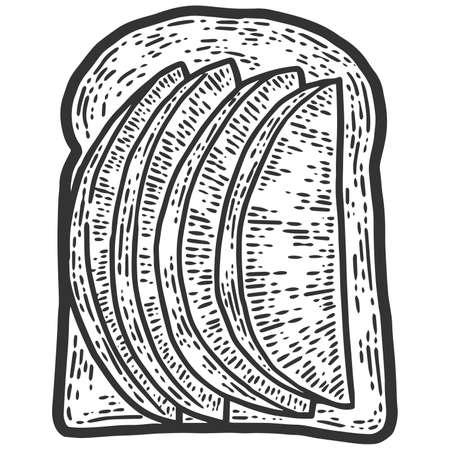 Avocado sandwich. Sketch scratch board imitation. Black and white.
