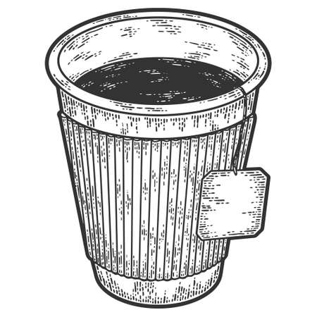 Tea in a paper cup. Sketch scratch board imitation. Black and white. Illustration