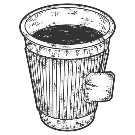 Tea in a paper cup. Sketch scratch board imitation. Black and white. Stock Photo