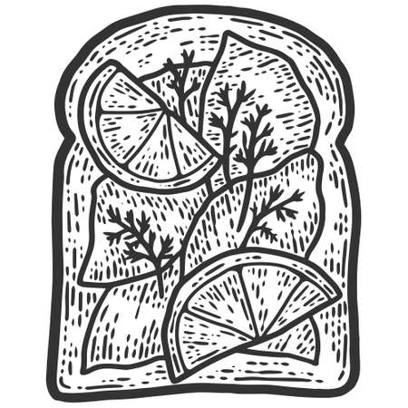 Sausage and lemon sandwich. Sketch scratch board imitation.