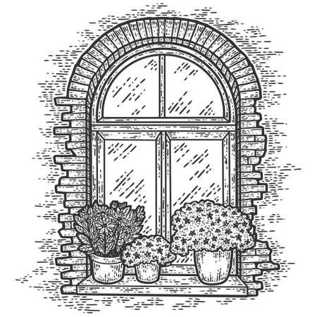 Vintage, brick window with flowers. Sketch scratch board imitation.