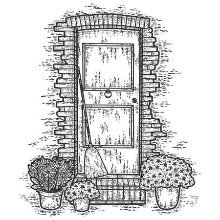 Vintage, brick door with flowers. Sketch scratch board imitation.