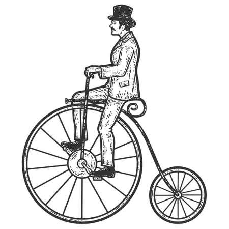 Vintage man on a high bike, penny farthing. Sketch scratch board imitation coloring. Vector Illustration