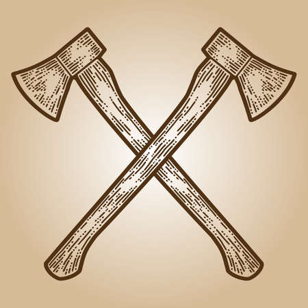 Crossed axes engraving sketch scratch board imitation. Sepia hand drawn image.