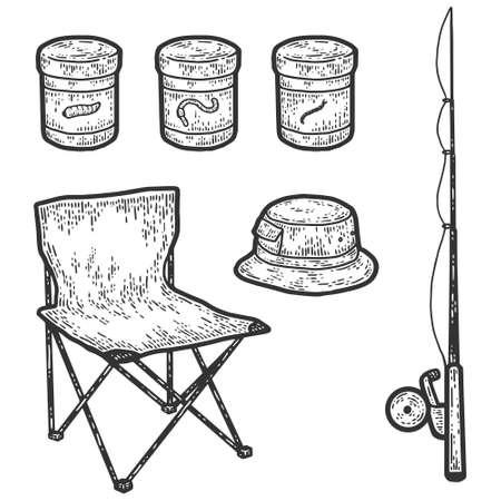 Fisherman set, fishing rod, folding chair, fishing rod bait, hat. Engraving vector illustration.