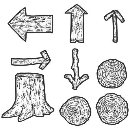 A set of wooden items. Stump, firewood and signs. Engraving raster illustration. Sketch scratch board imitation.