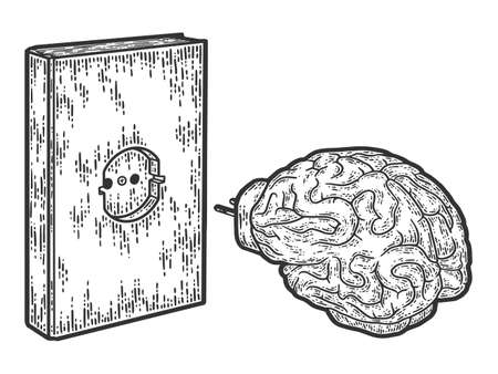 Book charging brain concept. Engraving vector illustration, sketch.