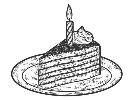 Festive birthday chocolate cake with candle. Engraving raster illustration.