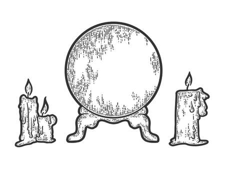 Candle sketch and magic ball. Hand drawn vector illustration.
