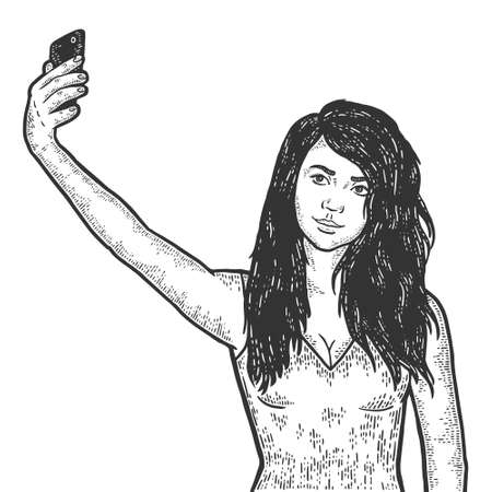 Girl makes selfie on phone. Engraving vector illustration. Sketch
