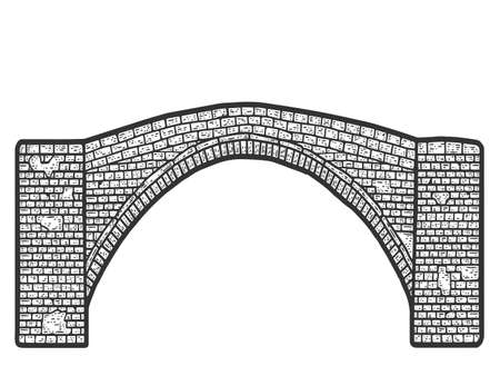 Vintage brick bridge. Engraving vector illustration. Sketch scratch board imitation. Illusztráció