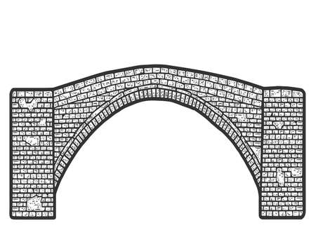 Vintage brick bridge. Engraving raster illustration. Sketch scratch board imitation.
