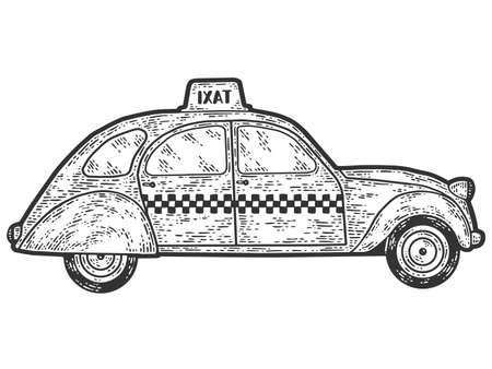 Retro taxi, vintage transport. Engraving raster illustration.