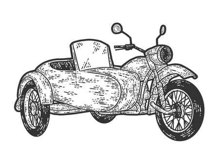 Motorcycle with a sidecar. Engraving vector illustration. Sketch scratch board imitation. Illusztráció