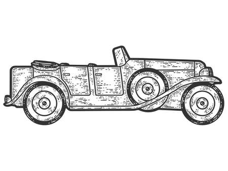 Old retro car. Engraving vector illustration. Sketch scratch board imitation. Illusztráció