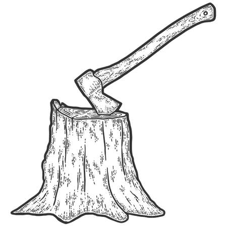 Stump with an ax. Engraving vector illustration. Sketch scratch board imitation. Illusztráció