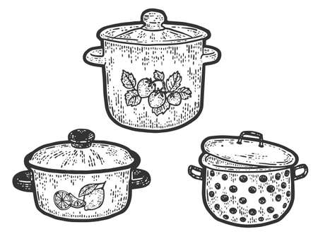 Three stock pot of different sizes and designs. Engraving vector illustration.