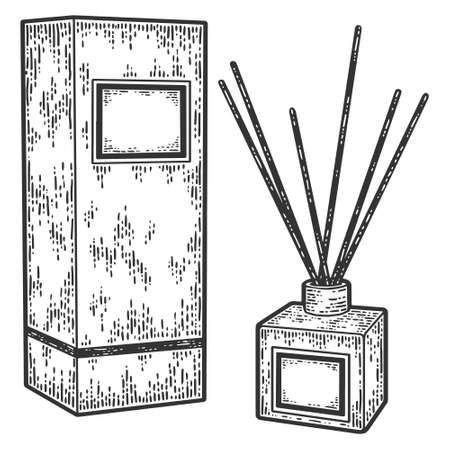 Home fragrance perfume diffuser with wooden sticks in elegant glass bottle. Engraving vector illustration.