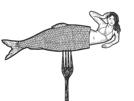 Visual deception, woman with herring. Mermaid on a fork. Engraving raster illustration.
